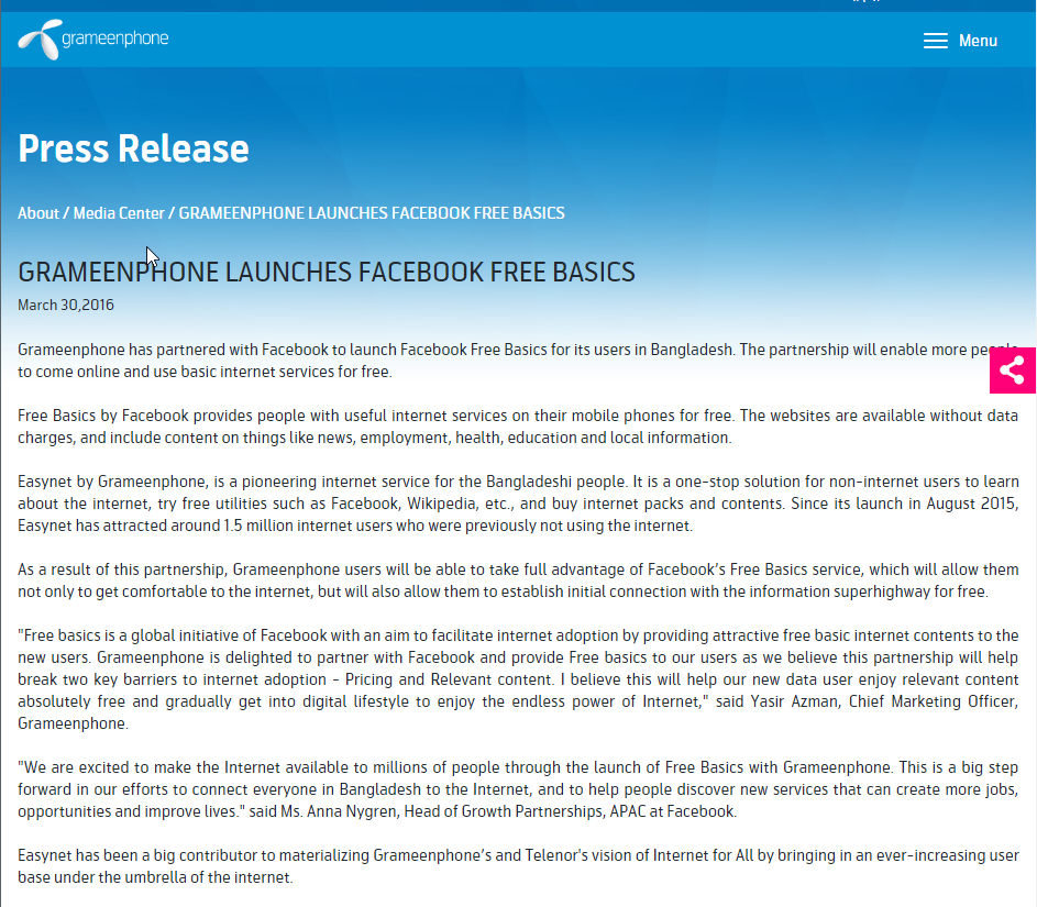 Grameenphone's Press Release on Free Basics