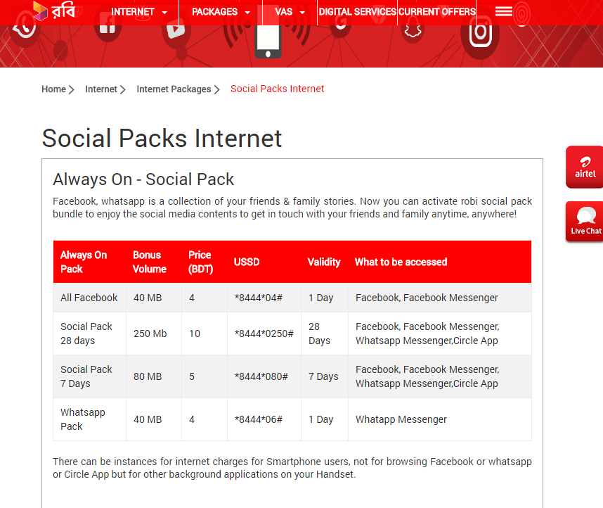 Robi's lists of Social Pack internet packages. Screenshot from Robi's website
