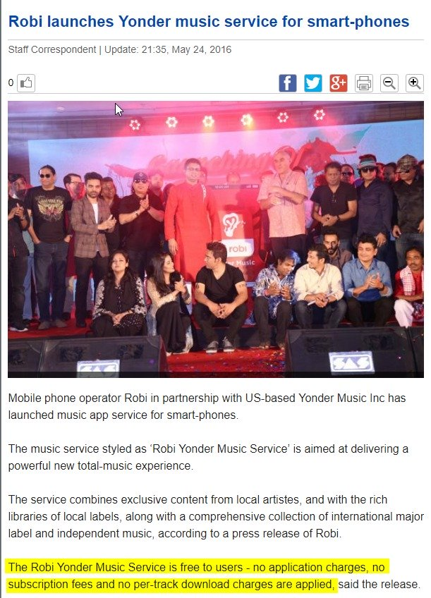 Robi's Press Release on its free music streaming app Robi Yonder Music. Screenshot of a local newspaper.